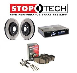 Set Of Front Stoptech Slotted Brake Rotors Metallic Pads For Lancer Evo X