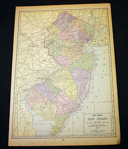 Antique Map 1929 New Jersey Or New Mexico