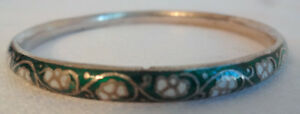 Vintage Antique Chinese Bangle Bracelet Small Size Sterling Silver Green Enamel