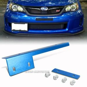 Blue Brushed Aluminum Front License Plate Relocate Mounting Bracket Universal 5