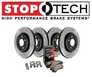 For Audi A4 Quattro Stoptech Street Slotted Front Rear Brake Rotors Pads Kit