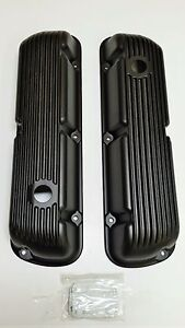 Sbf Finned Black Aluminum Valve Covers 289 302 351w 5 0l Sb Ford Mustang Falcon