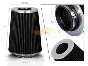 Black 4 Inches 4 102mm Inlet Cold Air Intake Cone Truck Filter Audi Vw