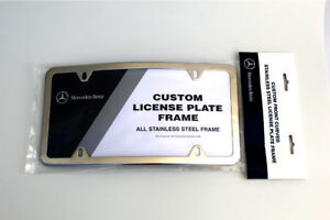 Mercedes benz Curved Polished Stainless Steel License Plate Frame Genuine Oem