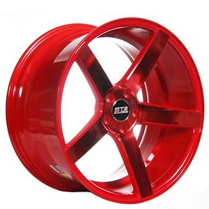 22 Staggered Str Wheels 607 Neon Red Rims