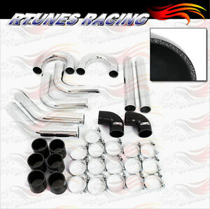Black 3 Inches 76mm Turbo Supercharger Intercooler Polish Pipe Kit For Nissan