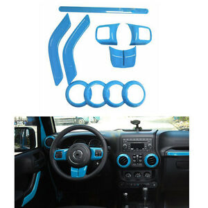 Car Interior Accessories Decoration Abs Trim Light Blue For Jeep Wrangler 2 door