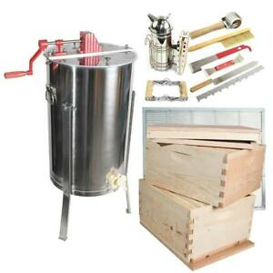 2 Frame Honey Super Extractor With 4 Tier Beginners Bee Hive Kit Glbse4stackcts1
