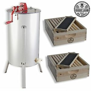 2 Bee Hive Frame Honey Extractor With 2 Complete Super Beehives Gl e2 2s