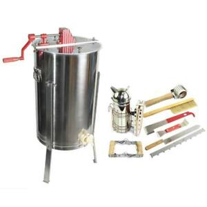 2 Frame Honey Extractor With Complete Beginners Bee Hive Tool Kit Gl e2 tk1