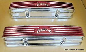 Edelbrock 4145 Sbc Cast Alum Valve Covers W Matching Oval Air Cleaner Polished