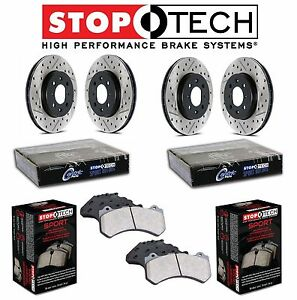 For Ford Mustang Stoptech Rear Front Drilled Slotted Brake Rotors Sport Pads Kit