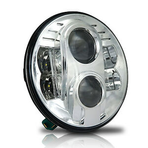 One Round 7 Inch Led Projector Chrome Headlight For Jeep Wrangler Cj Tj Jk