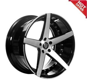 20 Mq 3226 Wheels Black Machined Face Staggered Rims 5x114 3 Fit Ford Mustang