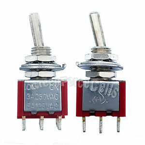100pcs High Quality 3 Pin Spdt On on 2 Position Mini Toggle Switches Mts 102 Red