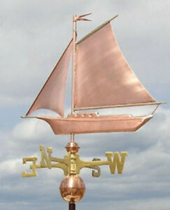 Sweet Sail Boat Weathervane W Copper Balls Brass Directionals Made In The Usa