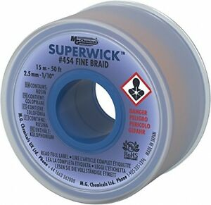 Mg Chemicals Desoldering Braid 4 Fine Braid Super Wick With Rma Flux 50 X