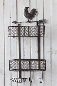 New Primitive Country Rustic Farmhouse Rooster Basket Soap Holder Shelf Hooks