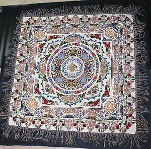 Antique Ottoman Turkish Embroidery Silk Gold Thread Wall Hanging Thugra 19c