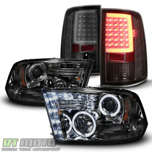 Smoke 2009 2018 Dodge Ram 1500 Halo Projector Headlights Led Tail Lights Lamps