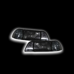 1987 1993 Ford Mustang Gt lx Headlight Assembly Set Euro Smoked