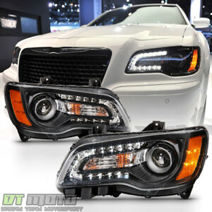 Black Factory Style 2011 2014 Chrysler 300 Halogen Led Drl Headlights Headlamps