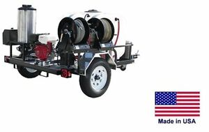 Pressure Washer Hot Water Trailer Mount 200 Gal 4 Gpm 3200 Psi