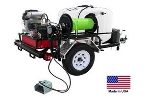Pressure Washer Jetter Trailer Mounted 200 Gal 5 5 Gpm 3500 Psi 18 Hp