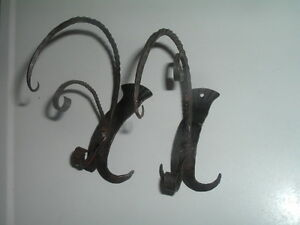 Vintage Victorian Cast Iron Wall Brackets Hooks Ornate Architectural