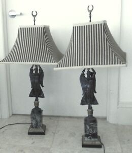 Pr Antique Bronze Lamps On Marble Bases W Custom Shades