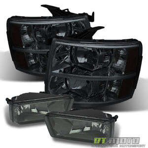 Smoked 2007 2013 Chevy Silverado Headlights Bumper Fog Lamps Left right 07 13