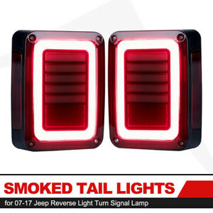 07 17 Jeep Wrangler Jk Pair Led Tail Lights Smoke Rear Reverse Brake Turn Signal