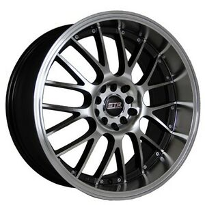 4rims 17 Str Wheels 514 Black Machined Face And Lip Rims