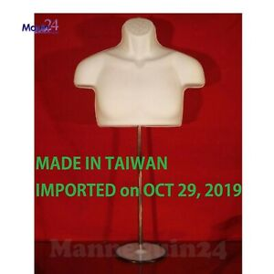 New Male Torso Mannequin Form White W Metal Base