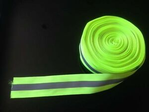 Safety Silver Reflective Sew On Fabric Tape Strip Lime Green Vest 2 Us Shipper