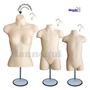3 Mannequin Torsos flesh Female Child Toddler Body Forms 3 Stands 3 Hangers