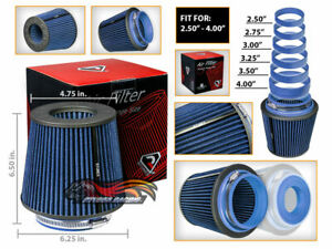 Blue Universal Inlet Air Intake Cone Open Top Dry Replacement Filter For Hyundai