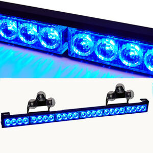 27 Blue 24 Led Emergency Warning Strobe Light Bar Traffic Advisor 13 Patterns