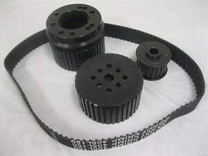 Small Block Chevy Black Gilmer Belt Drive Pulley Set Long Water Pump Pulleys