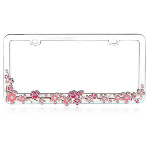 Pink Cherry Blossom Tree Metal License Plate Frame