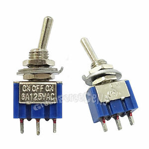 100 Pcs 3 Pin Spdt On off on 3 Position 6a 250vac Mini Toggle Switches Mts 103