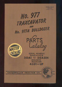1956 Caterpillar 977 Traxcavator 977a Bulldozer Parts Manual 20a1 To 20a584