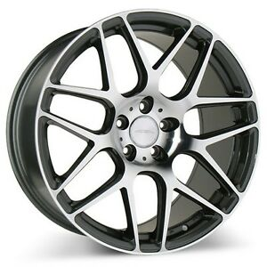 4wheels 20 Staggered Ace Alloy Wheels Mesh 7 Mica Gray With Machined Rims
