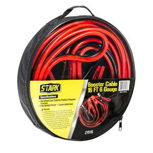 Premium Booster Cable 16 Ft 6 Gauge 6ga Heavy Duty Extra Power Battery Jumper