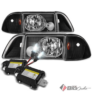 For 87 93 Mustang Black Aftermarket Headlights Full Set Xenon Hid Kit Combo