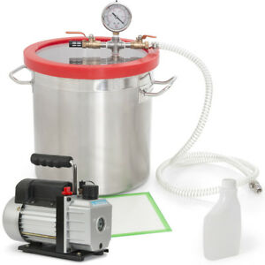 5cfm Vacuum Pump 1 2hp And 5 gallon Vacuum Chamber Silicone Degassing Expoxy