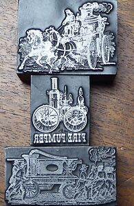 3 Antique Wood And Metal Printers Blocks W fire Pumpers 2 25 2 1 25 Wide