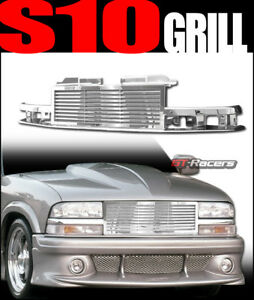 For 1998 2004 Chevy S10 Blazer Truck Chrome Horizontal Billet Front Grill Grille