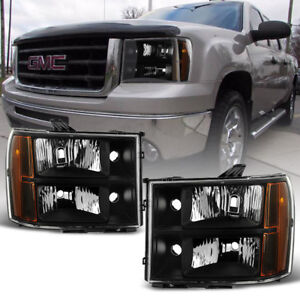 Black 2007 2013 Gmc Sierra 1500 2500 3500 Headlights Headlamps 07 13 Left Right
