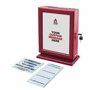 Adir Customizable Wood Suggestion Box Donation Charity Box Red W Refill Cards